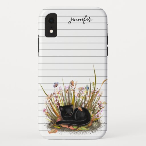 Black cat butterfly sunset iPhone XR case