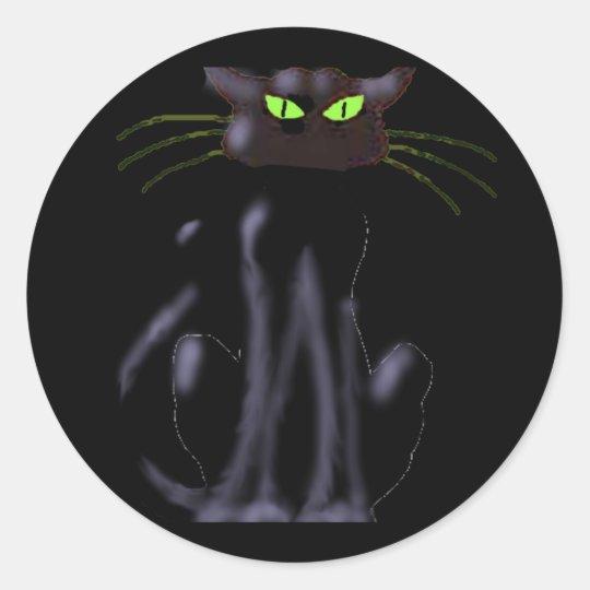 BLACK CAT by SHARON SHARPE Classic Round Sticker