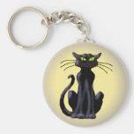 BLACK CAT by SHARON SHARPE Keychain
