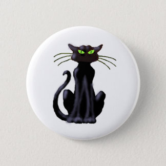 BLACK CAT by SHARON SHARPE Pinback Button