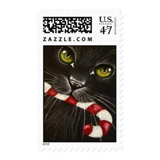 Black Cat & Candycane Postage Stamp