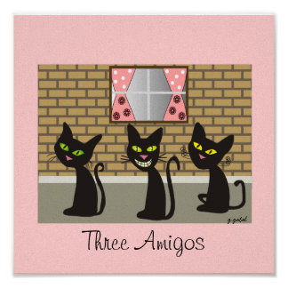 "Black Cat Canvas Art ""Three Amigos"" Poster"