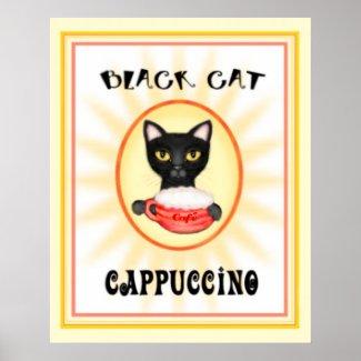 Black Cat Cappuccino Vintage Art Design Posters