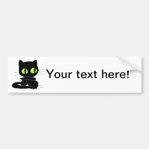 Black cat cartoon car bumper sticker