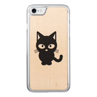 Black cat cartoon carved iPhone 7 case