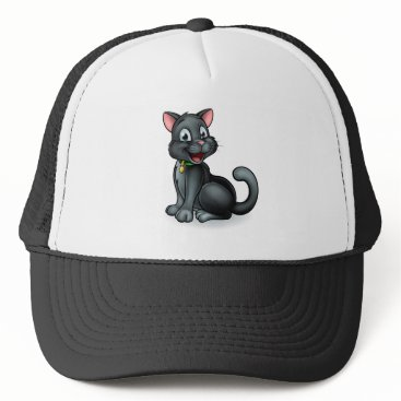 Halloween Themed Black Cat Cartoon Character Trucker Hat