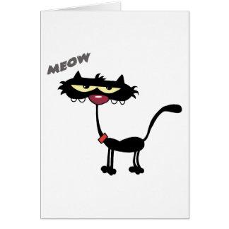 Black Cat Cartoon Charactrer Card