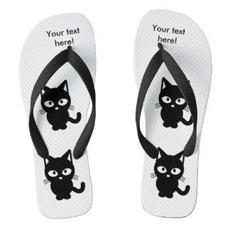 Black cat cartoon flip flops