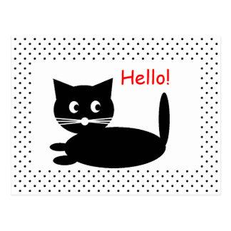Black Cat Cartoon - Postcard
