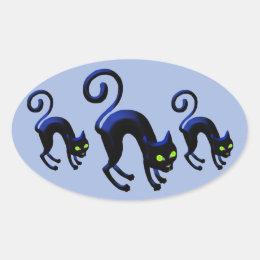 Black Cat Cattitude Oval Sticker