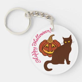 Black cat celebrates Halloween! Keychain