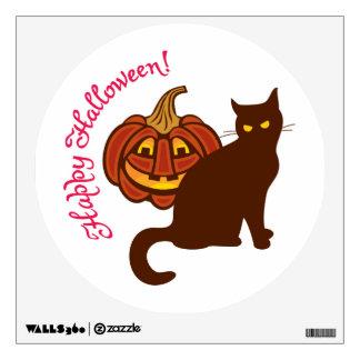Black cat celebrates Halloween! Wall Decal