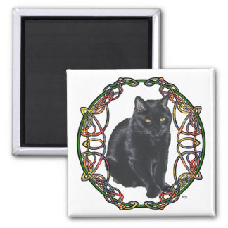 Black Cat Celtic Knotwork Magnet