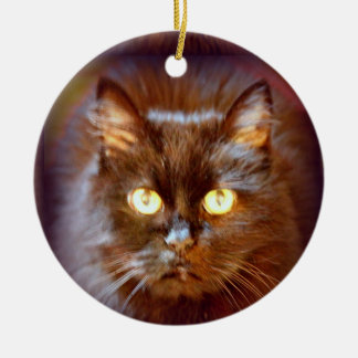 black cat ceramic ornament