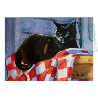 Black Cat Check Tablecloth Card