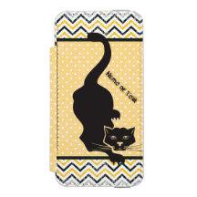 Black Cat Chevron Dots Incipio Watson™ iPhone 5 Wallet Case