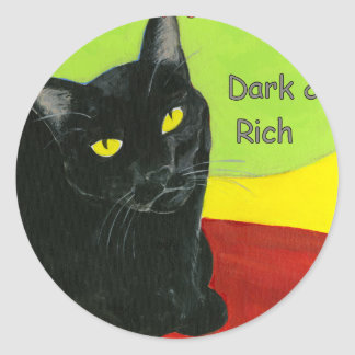 Black Cat Chocolate, Dark and Rich Classic Round Sticker