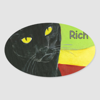 Black Cat Chocolate, Dark and Rich Oval Sticker