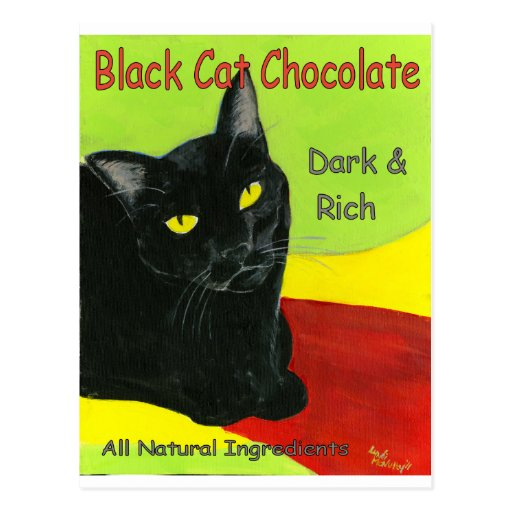 Black Cat Chocolate, Dark and Rich Post Cards