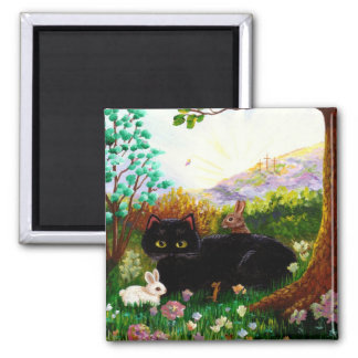Black Cat Christian Art Painting Creationarts LRA 2 Inch Square Magnet
