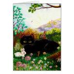 Black Cat Christian Art Painting Creationarts LRA Greeting Card