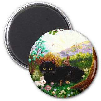 Black Cat Christian Art Painting Creationarts LRA Fridge Magnet