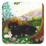 Black Cat Christian Art Painting Creationarts LRA Sticker