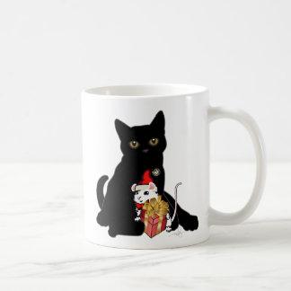 Black Cat Christmas Classic White Coffee Mug