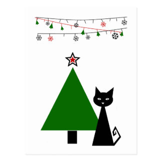 Black Cat Christmas Postcard