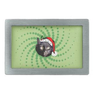 Black Cat Christmas Rectangular Belt Buckle