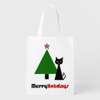 Black Cat Christmas Reusable Grocery Bag