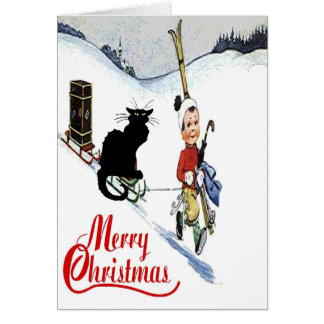 Black Cat Christmas Snow Card