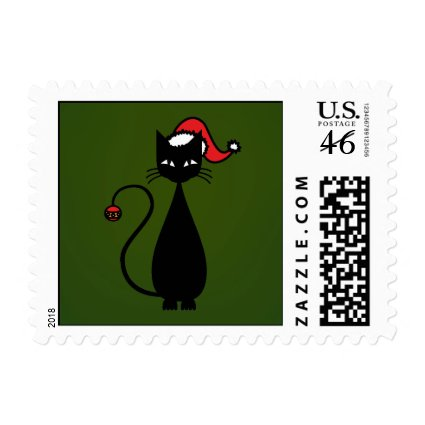 Black Cat Christmas Stamp
