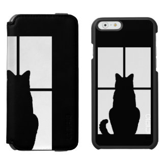 Black Cat Click to Customize Window Color Option iPhone 6/6s Wallet Case