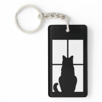 Black Cat Click to Customize Window Color Option Keychain