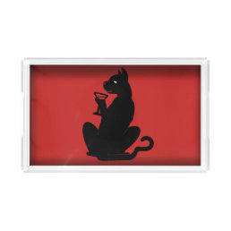 BLACK CAT COCKTAIL by Slipperywindow Acrylic Tray