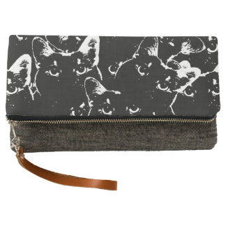 Black Cat Collage Clutch