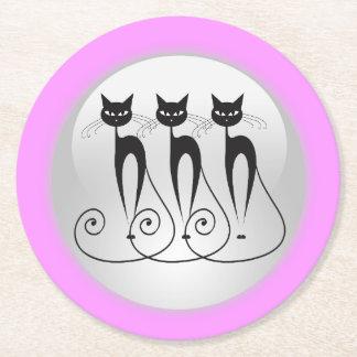 Black cat comic triplets round paper coaster