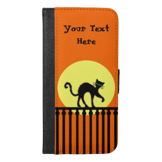 Black Cat Creeping on Ornate Fence Yellow Moon iPhone 6/6s Plus Wallet Case