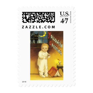 Black Cat Crescent Moon Child Ghost Story Postage