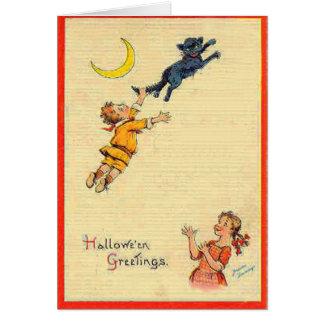 Black Cat Crescent Moon Children Card