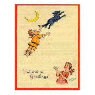 Black Cat Crescent Moon Children Postcard