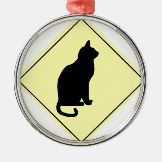 Black Cat Crossing Christmas Tree Ornament