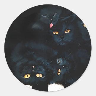 Black Cat Cuddle Classic Round Sticker