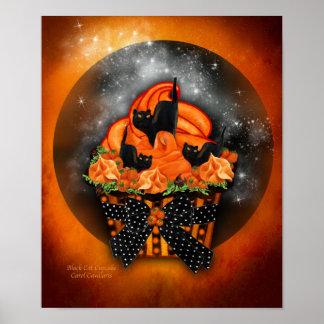 Black Cat Cupcake Halloween Art Poster/Print