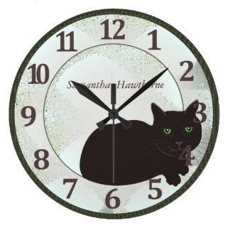 Black Cat Custom Large Round Wall Clock