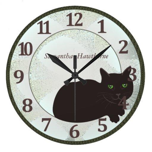 Black Cat Custom Large Round Wall Clock Zazzle