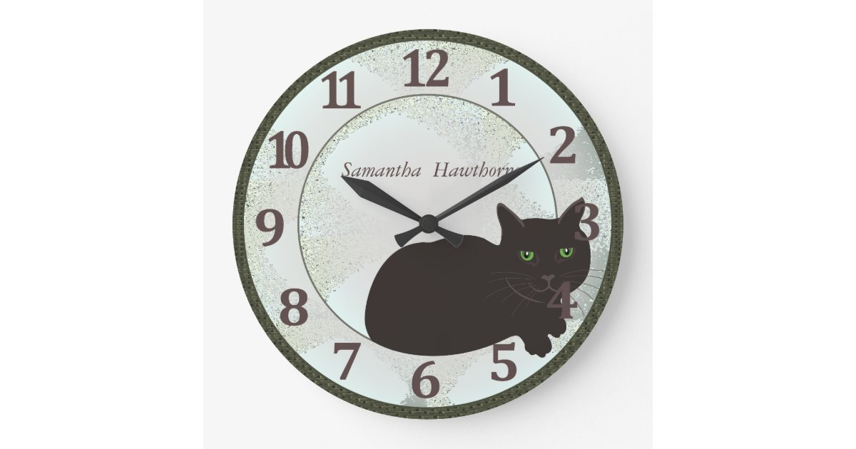 black cat custom large round wall clock zazzle