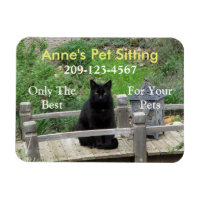Black Cat Customizable Business Magnet
