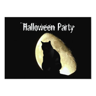 Black cat customizable Halloween party invitation